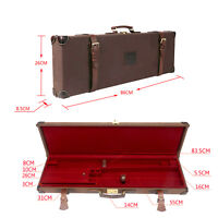 Tourbon Shotgun Hard Case Gun Box Safe Storage Cabinet Canvas & Leather Hunting
