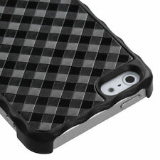 For iPhone 5 5S SE HARD Case Snap On Phone Cover Alloy Diagonal Black Plaid