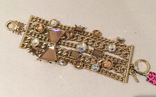 NWT Betsey Johnson large Iconic Topaz Brown Gold Bow Multi Chain Gold Bracelet