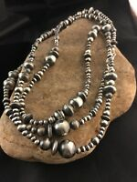 """60"""" Long Navajo Pearls Native American Sterling Silver Necklace Gift Mixed Beads"""
