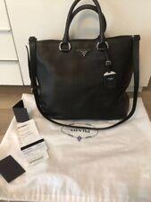 Prada BN1713 Black Leather Tote Shopper Handbag Vitello Daino