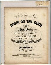 Rare Antique Orig VTG 1852 Down On The Farm Ethiopian Piano Sheet Music Print