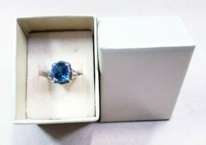 London Blue Topaz Rhodium Over Sterling Silver Ring 5.19ctw - Sz 8