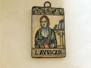 SACA CERAMICA D'ARTE DI CASTELLI WALL ART SMALL PLAQUE THE LAWYER L'AVVOCATO