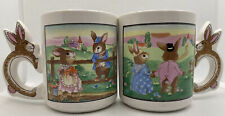New listing A Pair Vintage Peter Rabbit Garden Ceramic Coffee Mug Cup with Bunny Handle