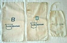 Vintage Canvas and Cloth Bank Money Bags and Coin Sack  C2
