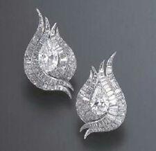 Solid 925 Sterling Silver Pear Baguette Beautiful Stud Earrings Cz Jewlry Women*