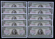 CHILE 50 Centesimos on 100 Pesos BANCO CENTRAL DE CHILE 10 Pcs. (P140b) Unc's