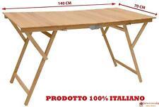 Tavolo tavolino pieghevole in legno di faggio naturale 70x140 cm campeggio casa