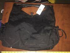 VIA SPIGA large black bag tote purse Shopper  15 x 15 cloth/canvas and leather