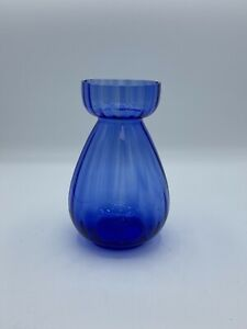 Two's Company Blue Hand Blown Glass Hyacinth Bulb Forcing Starter Vase