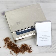 More details for personalised engraved cigarette tobacco rolling tin & silver lighter gift set