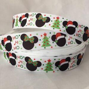 YARD CHRISTMAS  DISNEY POLKA MICKEY MINNIE MOUSE EARS SANTA  GROSGRAIN RIBBON
