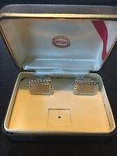 Vintage Hickok Silver Tone Cuff link W/ Original Box