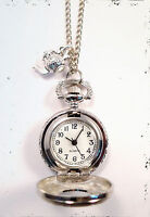 Alice in Wonderland Silver Teapot Clock Necklace-Vintage Jewellery Pocket Watch