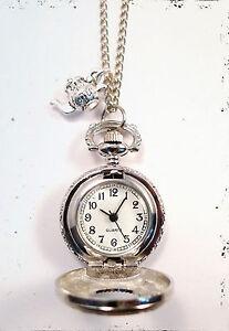 Alice in Wonderland Silver Teapot Clock Necklace-Vintage Jewellery Pocket Watch