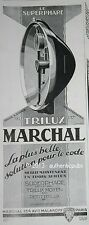 PUBLICITE ANCIENNE 1928 MARCHAL PHARES TRILUX SUPERPHARE CODE FRENCH AD
