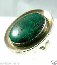 MEXICO STERLING SILVER 925 GENUINE MALACHITE STONE RING BAND ONE SIZE