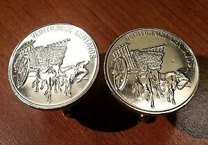 Vintage Dominican Republic Ox Bulls Pulling Cart Large Coin Cufflinks + Gift Box