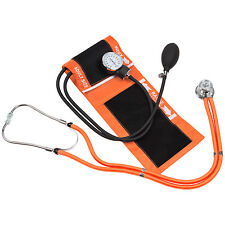 Blood Pressure Cuff with Dual matching Stethoscope & Pouch (Orange)