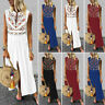 Women HOT Sleeveless V-Neck Maxi Dress Hem Baggy Kaftan Long Dress High Split