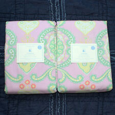 2 NEW Pottery Barn kids Claudia Blackout PANEL 44 x 84 pink green yellow heart