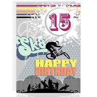 HAPPY BIRTHDAY GREETING CARD - Personalise name & age - BMX, TEENAGE, BOY, MALE