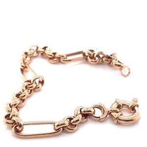 9K Rose Gold Belchor Link Bracelet with Donut Catch 6.54gms