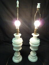 VINTAGE PAIR ITALIAN WHITE MARBLE BARKER BROTHERS TABLE LAMPS