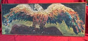 TEMPERANCE Eagle - Abstract Oil Painting - Antique - Folk Art - Artist Unknown