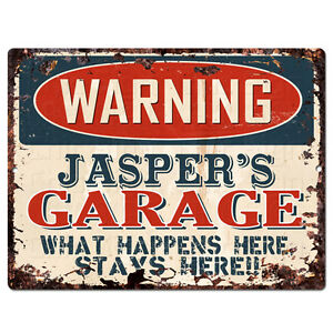 PPFG0553 WARNING JASPER'S GARAGE Tin Chic Sign Home man cave Decor Funny Gift