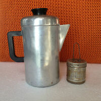 """Vintage Aluminum Coffee Pot Canadian Cookware with tea infuser - 9"""" Tall"""