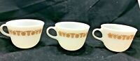 Vintage  Set 3 Pyrex Butterfly Gold Cups Mugs Round C Handle Milk Glass 8oz.