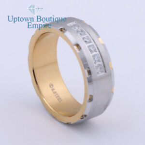 Men's Stainless Steel Two Tone CZ Micro Paved Engagement Ring Band Size 8-13 *71