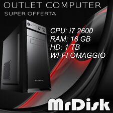 PC DESKTOP i7 2600 ASSEMBLATO RAM 16 GB HD 1 TB COMPUTER WI-FI WINDOWS 10 PRO
