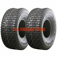 TWO 15x6.00-6 TURF TYRES For Ride On Lawn Mower Garden Tractor 15x600-6 15 600 6