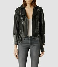 ALL SAINTS RARE P[UNCHED OUT BLACK LEATHER BIKER JACKET SMALL UK 8 EU 36 BNWT