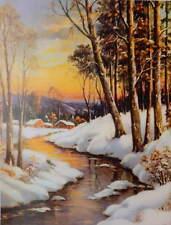 """vintage """" Moon light winter snowy steam village distant village W Thompson"""