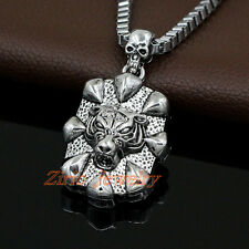 Cool Stainless Steel Skull Wolf Head Pendant Box Chain Biker Rock Necklace Gift
