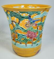 """Vintage 1920s Chinese Hand-Painted Birds Porcelain Flared Vase 5"""" Tall With Box"""