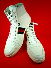MEN'S GUCCI WHITE LEATHER HIGH TOP SHOES SNEAKERS SIZE 12 ~ MADE IN ITALY