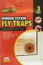 Fly Trap 3 Pack Insect Catcher Adhesive Window Sticker Bug Wasp Pest Control