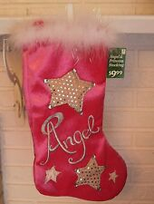 Pink and Silver Angel Princess Stocking With White Fur Trim & Sequins  - New