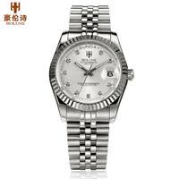 HOLUNS Men Quartz Watch Gold Diamond Business Dress Wristwatch Waterproof Date