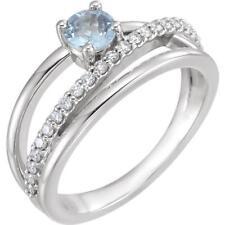 Platinum Aquamarine and Diamonds Bypass Ring Size 7
