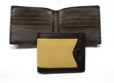 Canvas and Leather Slimfold Wallet - Tan with Brown Leather Interior