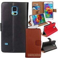 for samsung galaxy S5 genuine leather flip case wallet w/ card hold pocket stand
