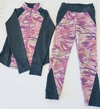 Justice Active wear Set thumb hole Jacket 14 Leggings 12 pink grey purple