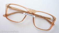 Vintage-Brillen hellbraun Nerd Brille Kunststoff schlicht groß eckig Grösse L