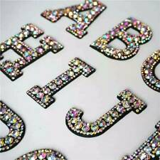 Rhinestone Sparkle A-Z Letter Patch Patches Sew on Alphabet Embroidery Clothes